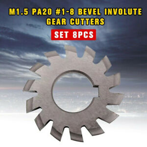 8pcs set M1 5 Pa20 1 8 Bevel Involute Gear Cutters Hss Module 1 5 Gear Cutter