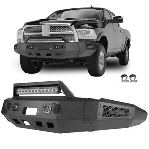 Heavy Steel Front Bumper W Winch Plate Led Light For 10 18 Dodge Ram 2500 3500