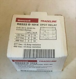 Honeywell R8222d1014 Dpdt Switching Relay Coil 24v R8222 D 1014 New In Box