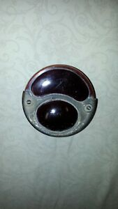 Old Vintage Type 5 Red Glass Stop Tail Brake Light Lens Assembly For Restore