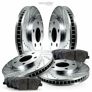 Full Kit Drilled Slotted Brake Rotors And Ceramic Pads For 2006 2010 Lexus Is250