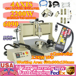Usb Cnc 6090 Router 4 axis Engraver Milling Machine Metal Woodworking 2 2kw Rc