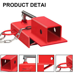 Clamp On Forklift Receiver Hitch Attachment W Chain Trailer Towing Adapter 2