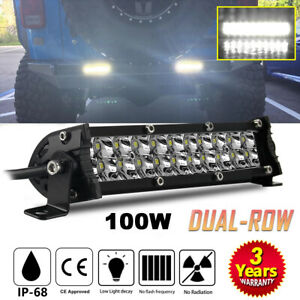 1x 7inch 100w Led Work Light Bar Flood Spot Combo Fog Lamp Offroad Driving Truck
