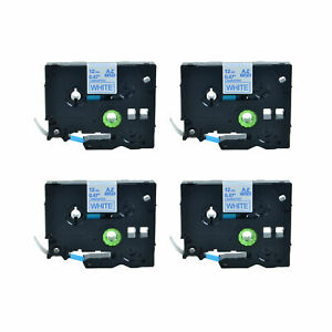 4pk Tz Tze 233 Blue On White 12mm Label Tape For Brother P touch Pt 1880 Pt d600