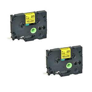 2pk Tze Tz S621 For Brother Pt 1880c Extra Strength Black On Yellow Label 9mm