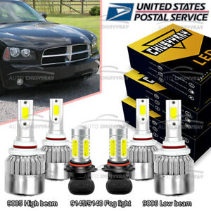 For Dodge Charger 2006 2007 2008 2009 6x 6000k Led Headlights Hi low Fog Lights