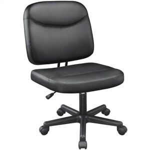 Armless Office Chair Mid back Task Chair Adjustable Leather Desk Chair Black