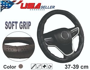 Steering Wheel Cover Gray Faux Leather Diy Lace Up Wrap Usa Seller