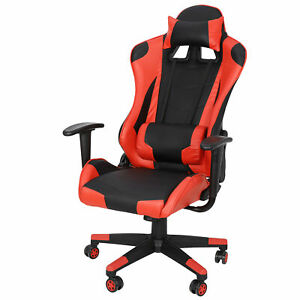 Gaming Racing Leather Office Chair Swivel Ergonomic Computer Desk Seat