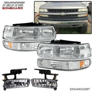For 99 06 Silverado Suburban Tahoe Headlights bumper Signal fog Lights Lh rh