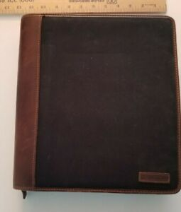 Franklin Covey Black Twill With Leather 7 Ring Planner Binder Organizer