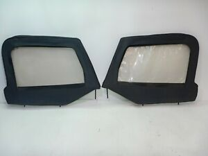 Jeep Wrangler Yj 87 95 Soft Top Half Door Upper Pair Black Vinyl Free Shipping