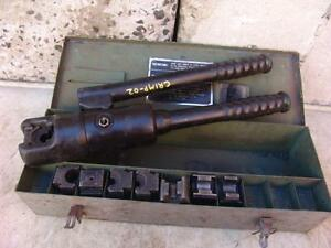 Burndy Y34a Hydraulic Cable Wire Crimper With Many Dies