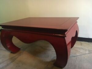 Vintage Red Lacquer Wood Coffee Table