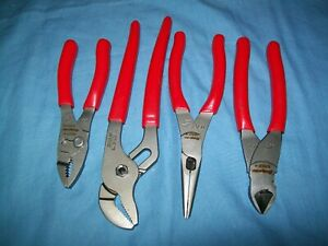 New Snap on 87acf 196acf 91acp 46acf 4pc Pliers Set Cutters Needle Nose Combina