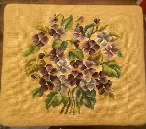 Vintage French Country Provincial Needlepoint Floral Foot Stool Violets