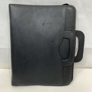 Day timer Black Avalon Simulated Leather Planner Case Handles Full Zip 14x11