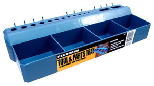 Blue Hanging Pegboard Bin Tool Parts Tray Home Storage Organizer Shelf Plastic