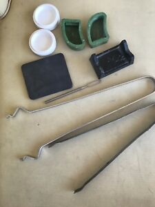 Vintage Dental Lab Casting Lot Molds Porcelain Dish Trays Plate Tongs Tools