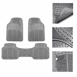 Universal Floor Mats For Car All Weather Heavy Duty 3pc Rubber Set Gray