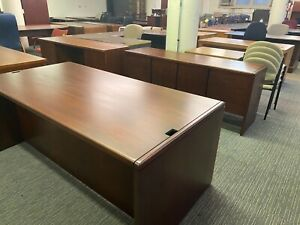 Executive Set Desk Credenza By Kimball Office Furniture In Dark Cherry Wood