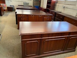 Executive Set Desk Credenza By Kimble Office Furniture In Dark Cherry Wood