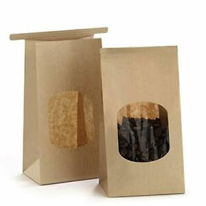 Bakery Bags With Window Small Kraft Paper Bags 100pcs 3 54x2 36x6 7 Inches
