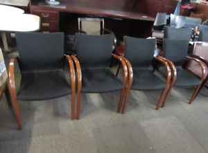 Beautiful Krug Wood And Black Fabric Guest Chairs