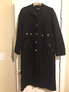 Geiger Women s Long Wool Coat Navy Blue olive Green Trim Size 34 Preowned