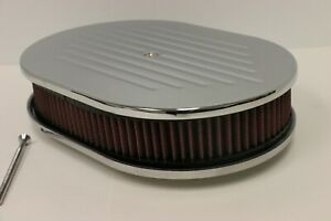 12 Oval Ball Milled Chromed Aluminum Washable Air Cleaner Filter Sbc Bbc 350