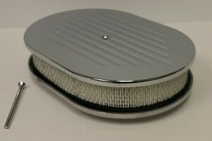 12 Oval Ball Milled Chromed Aluminum Air Cleaner Filter Sbc Bbc 350 454 Ford