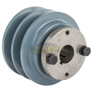 Cast Iron 3 35 2 Groove Dual Belt B Section 5l Pulley With 7 8 Sheave Bushing