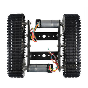 Black Tracked Robot Smart Car Platform Aluminum Alloy Chassis With Dual Dc 9v