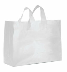 Large Clear Frosted Plastic Gift Bags Case Of 25
