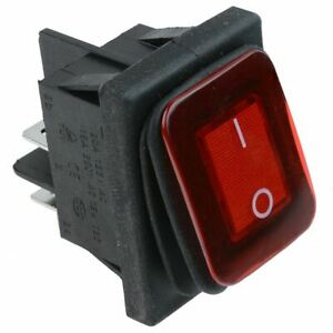 Red Rectangle Illuminated On off Waterproof Rocker Switch 20a Dpst Ip67