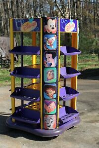 Disney Store 5 Feet Display On Wheels Metal Plastic Dvds Plush 4 sided Shelving