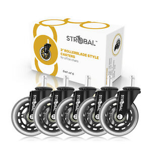 Strobal Office Chair Replacement Wheels 3 Rollerblade Style Heavy Duty Casters