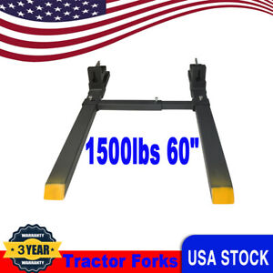 1500lbs 60 Tractor Forks Clamp For Skid Steer Loader Bucket W Stabilizer Bar