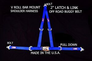 Rjs Racing 2 Buggy Off Road Seat Belt 3 Point V Harness Bolt In Blue Sand Rail