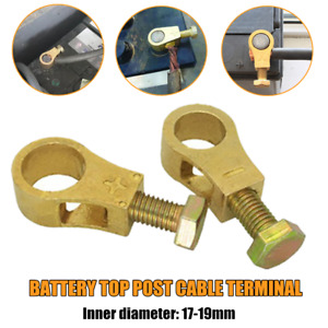 2pcs Replacement Pure Brass Battery Terminal Top Post Cable Terminals Wire End