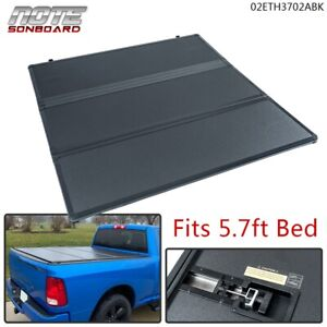 Hard Tri Fold Tonneau Cover 5 7ft Short Bed For 2009 18 Dodge Ram 1500 Crew Cab