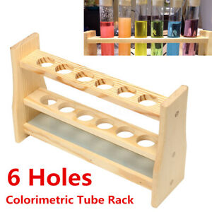 6 Holes Test Tube Rack Testing Tubes Clip Holder Stand Dropper Wood Lab New