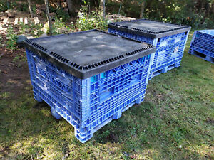 48 x45 x34 Plastic Collaspable Stackable Folding Shipping Crate W cover 1 Of 3