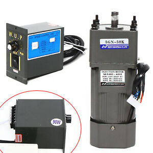 110v 90w Ac Gear Motor Electric Motor Variable Reducer Speed Controller 1 50 New