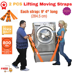 2 Pcs Lifting Moving Straps Sling Adjustable Heavy Furniture Appliances Dolly