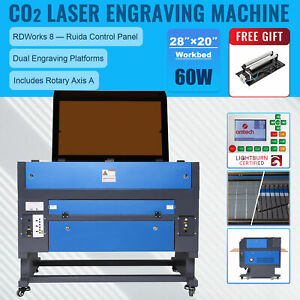 60w 20x28 Inch Co2 Laser Engraver Cutter Ruida With Cylinder Rotary Attachment