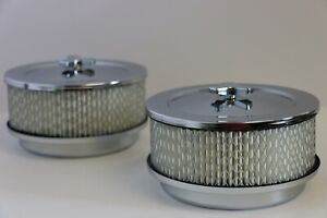Pair 2 6 3 8 X 3 7 8 Chrome 4 Bbl Round Air Cleaner Domed Top Chevy Sbc Bbc