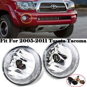Fits For 2005 2011 Toyota Tacoma Front Bumper Clear Fog Lights Driving Lamps