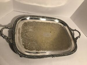 Vintage Birmingham Silver Company Silver On Copper Footed Serving Tray Large